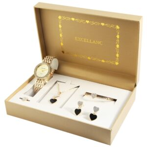 Conjunto Relógio e 6 Peças Gold Heart - 1800178