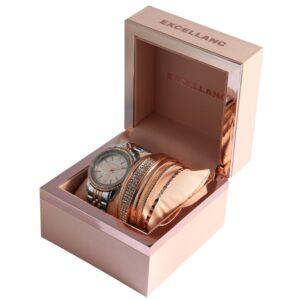 Conjunto Relógio com 5 Pulseiras Rosa Gold - 1800180-003