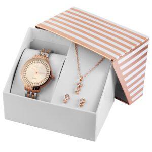 Conjunto Relógio com Colar e Par de Brincos Rosa Gold & Silver - 1800189
