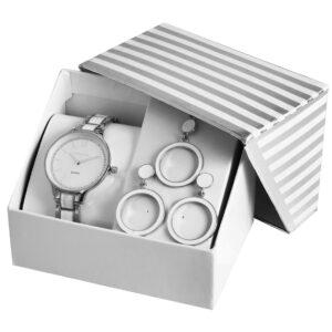 Conjunto Relógio com Colar e Par de Brincos Silver Round - 1800188-001