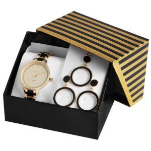 Conjunto Relógio com Colar e Par de Brincos Gold & Black Round - 1800188