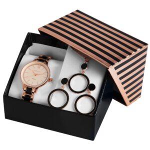 Conjunto Relógio com Colar e Par de Brincos Rose Gold & Black Round - 1800188