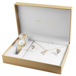 Conjunto Relógio Com Colar e Par de Brincos Gold Heart Stones - 1800176