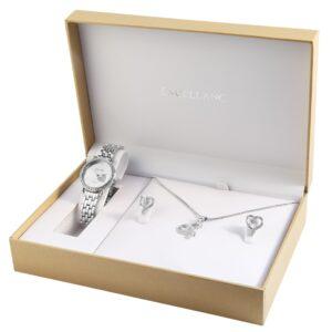 Conjunto Relógio Com Colar e Par de Brincos Silver Heart Stones - 1800176