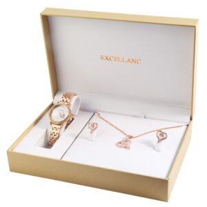 Conjunto Relógio Com Colar e Par de Brincos Rosa Gold Heart Stones - 1800176