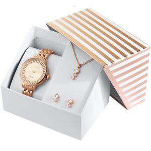Conjunto Relógio com Colar e Par de Brincos Rosa Gold - 1800189