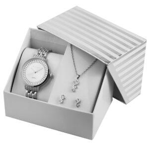 Conjunto Relógio com Colar e Par de Brincos Silver - 1800189