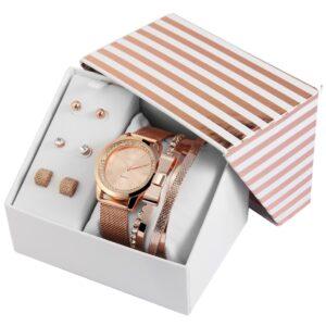Conjunto Relógio com 4 Pulseiras e 3 pares de Brincos Rosa Gold - 1800163