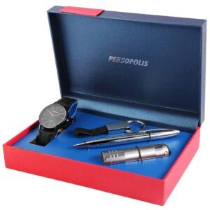Conjunto Persopolis Relógio com Caneta Lanterna e Porta-Chaves Black - 2900128-002