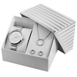 Conjunto Relógio com Colar e Par de Brincos Silver Circles - 1800187-001