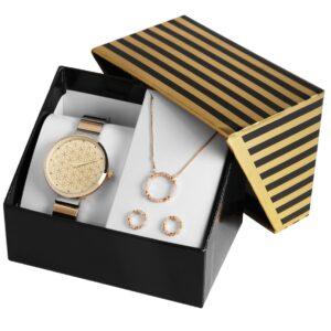 Conjunto Relógio com Colar e Par de Brincos Gold Circles - 1800187
