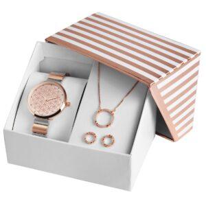 Conjunto Relógio com Colar e Par de Brincos Rosa Gold Circles - 1800187