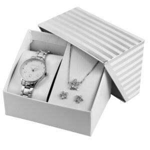 Conjunto Relógio com Colar e Par de Brincos Silver Stars - 1800185-001