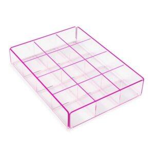 Caixa de Chá Polipropileno (20 x 5 x 27 cm) Cor de Rosa