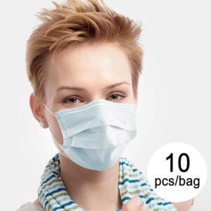 10 Máscaras Cirúrgicas Descartáveis de 3 Camadas