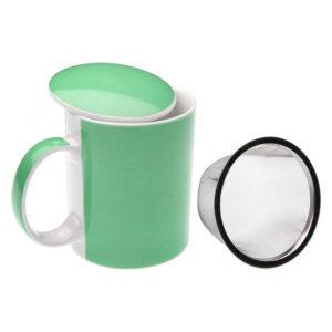 Chávena com Filtro para Infusões Porcelana Branco/Verde