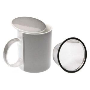 Chávena com Filtro para Infusões Porcelana Branco/Cinzento