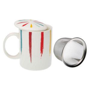 Chávena com Filtro para Infusões Brush Porcelana