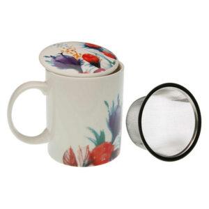 Chávena com Filtro para Infusões Flowers Porcelana