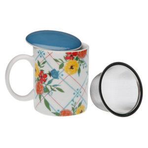 Chávena com Filtro para Infusões Fiori Viva Porcelana
