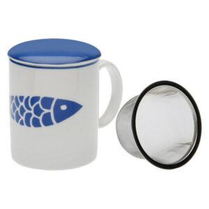 Chávena com Filtro para Infusões Navy Porcelana