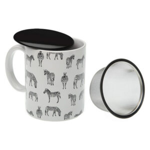 Chávena com Filtro para Infusões Zebra Porcelana