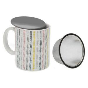 Chávena com Filtro para Infusões Corduroy Porcelana