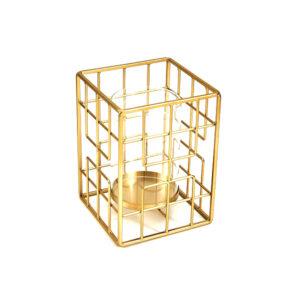 Candelabro Square Dourado 18 x 18 x 25 cm