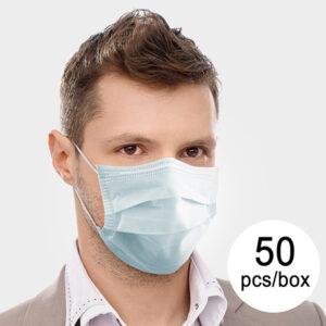 50 Máscaras Cirúrgicas Descartáveis de 3 Camadas