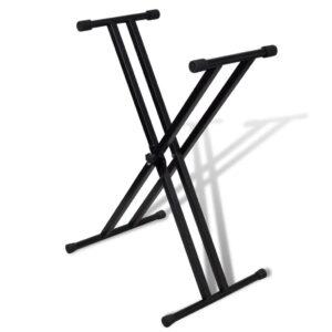 Suporte para Teclado Musical em X Duplo Ajustável  - PORTES GRÁTIS