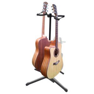Suporte duplo para guitarra, ajustável, dobrável - PORTES GRÁTIS