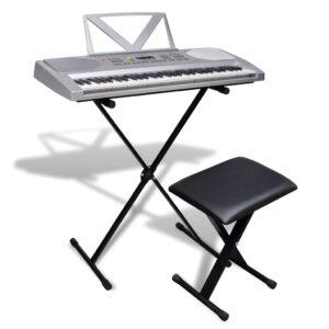 Conjunto de teclado eléctrico de 61 teclas + suporte ajustável + banco - PORTES GRÁTIS
