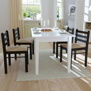 Cadeiras de jantar 4 pcs seringueira maciça e veludo castanho - PORTES GRÁTIS