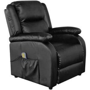 Cadeira de massagem elétrica reclinável couro artificial preto  - PORTES GRÁTIS