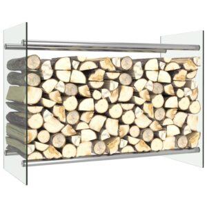 Suporte para lenha 80x35x60 cm vidro transparente - PORTES GRÁTIS