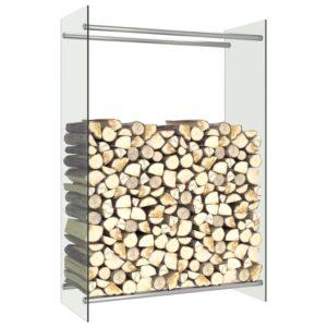Suporte para lenha 80x35x120 cm vidro transparente - PORTES GRÁTIS