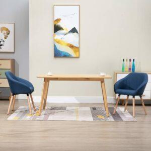 Cadeiras de jantar 2 pcs tecido azul - PORTES GRÁTIS