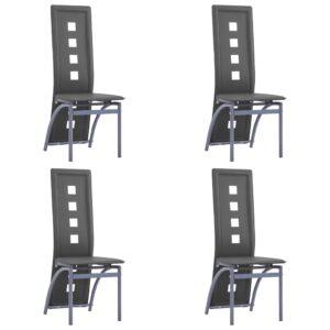 Cadeiras de jantar 4 pcs couro artificial cinzento - PORTES GRÁTIS