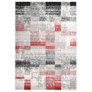 Tapete 80x150 cm PP cinzento e vermelho - PORTES GRÁTIS