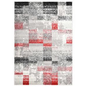 Tapete 160x230 cm PP cinzento e vermelho - PORTES GRÁTIS