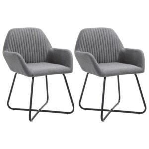 Cadeiras de jantar 2 pcs tecido cinzento-escuro  - PORTES GRÁTIS