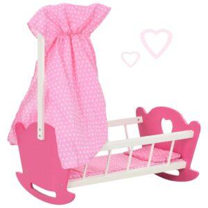 Cama de bonecas com dossel MDF 50x34x60 cm rosa - PORTES GRÁTIS
