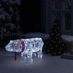 Decoração de Natal urso com 45 luzes LED 71x20x38 cm acrílico - PORTES GRÁTIS