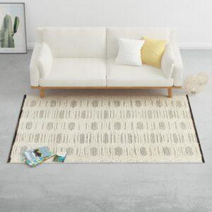 Tapete tecido à mão 160x230cm lã branco/preto - PORTES GRÁTIS
