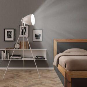 Candeeiro de chão com tripé E27 metal branco - PORTES GRÁTIS