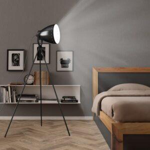Candeeiro de chão com tripé E27 metal preto - PORTES GRÁTIS