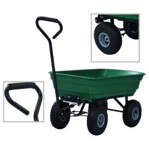 Carrinho de mão basculante para jardim 300 kg 75 L verde - PORTES GRÁTIS
