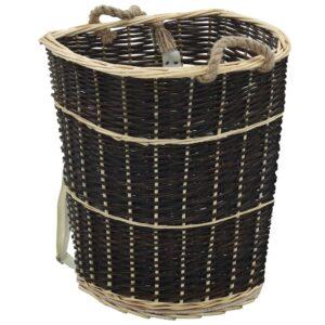 Mochila para lenha com alças 57x51x69 cm salgueiro natural - PORTES GRÁTIS