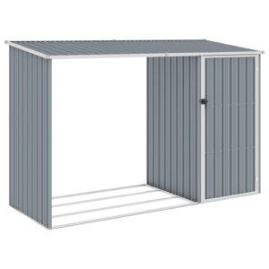 Abrigo de lenha jardim 245x98x159 cm aço galvanizado cinzento - PORTES GRÁTIS