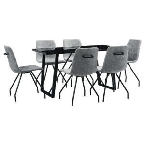 7 pcs conjunto de jantar couro artificial cinzento-escuro - PORTES GRÁTIS